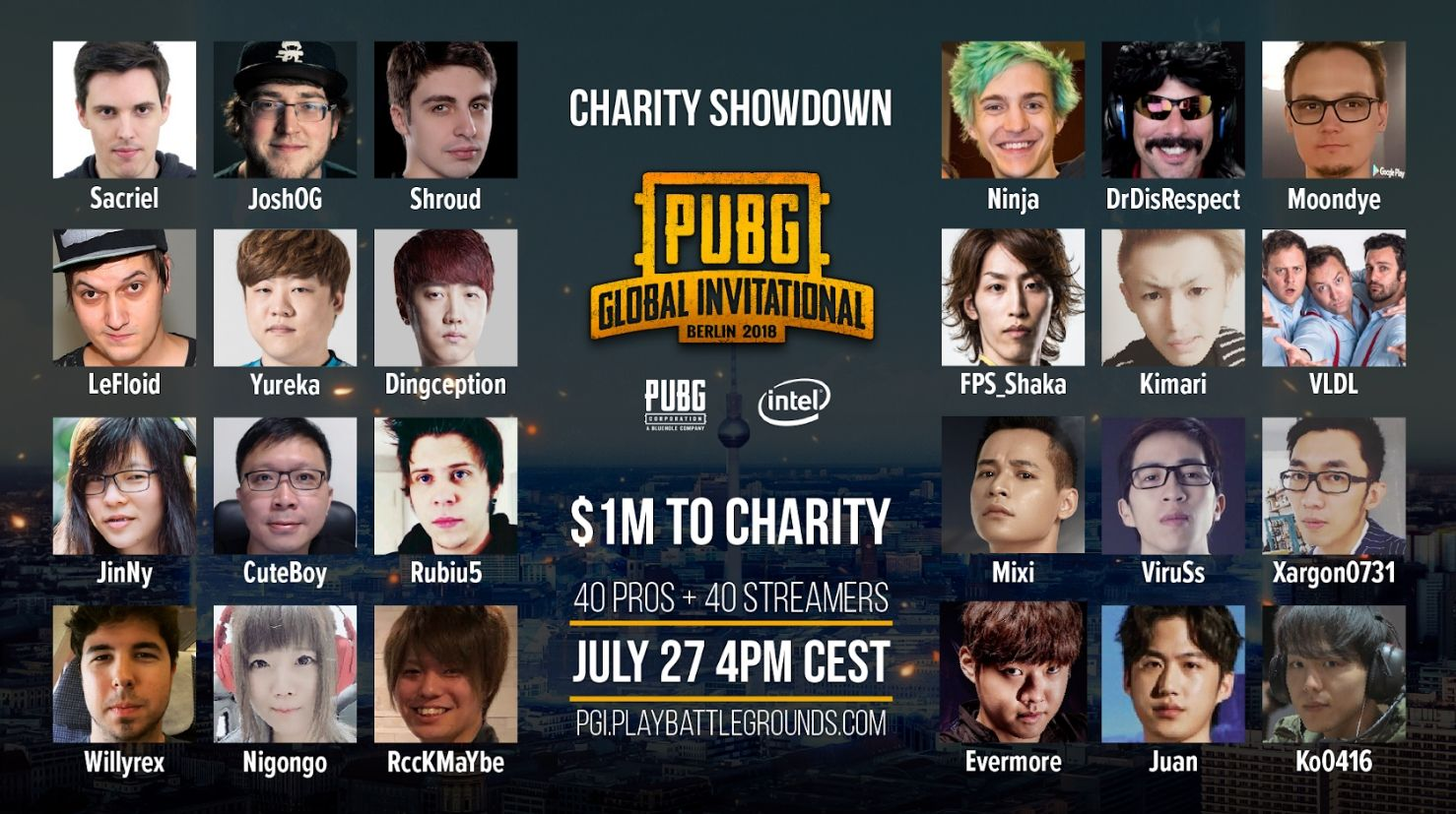 Ninja, Shroud, DrDisRespect, and other personalities are taking part