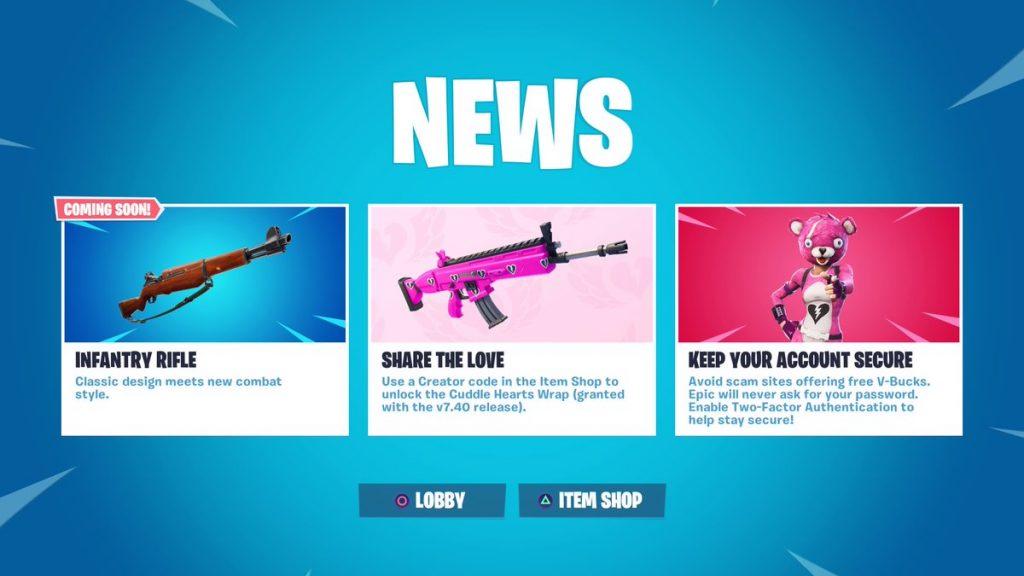 screengrab via epic games - new fortnite guns coming out