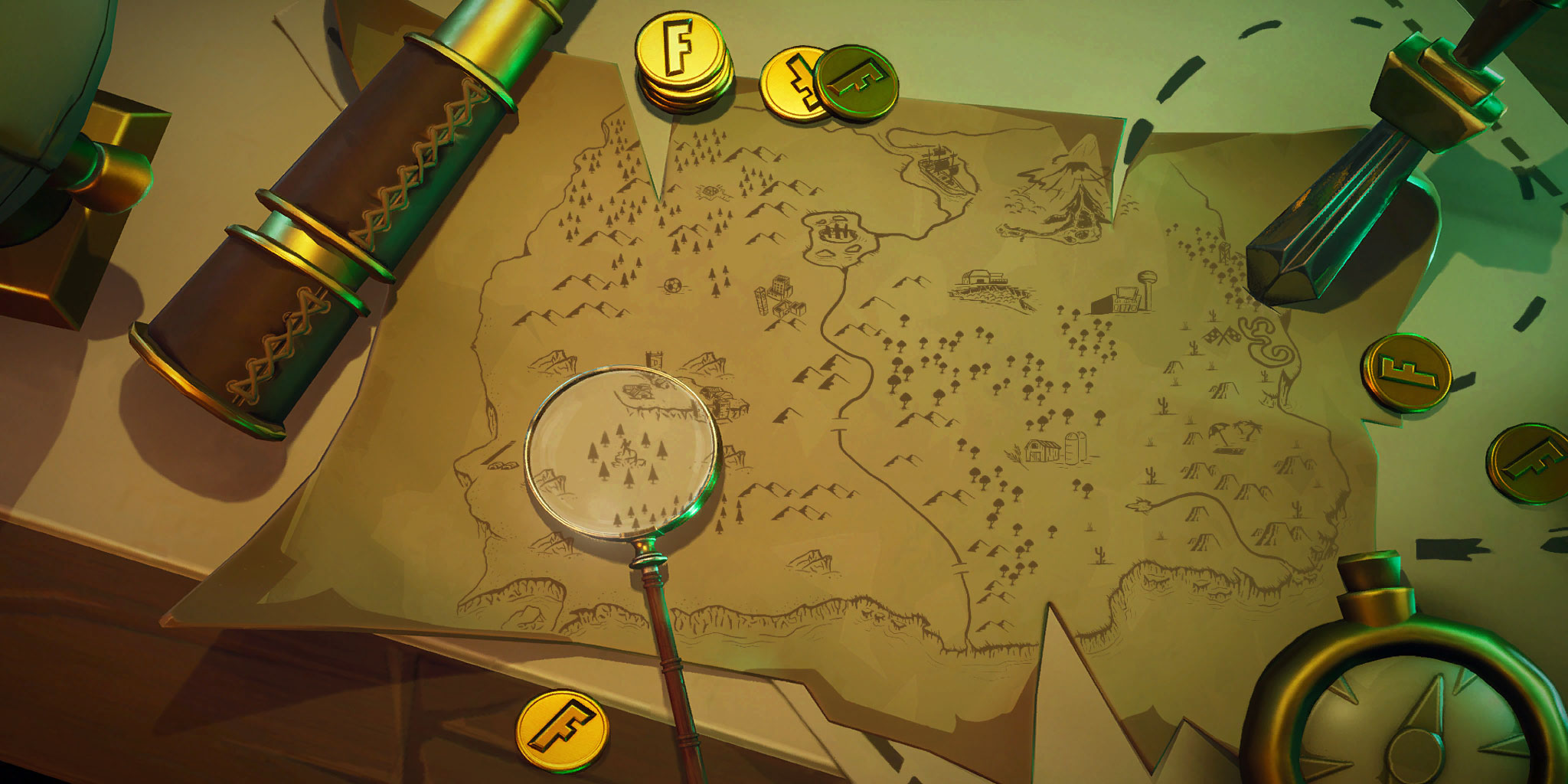 Fortnite: Search Where the Knife Points on the Treasure Map