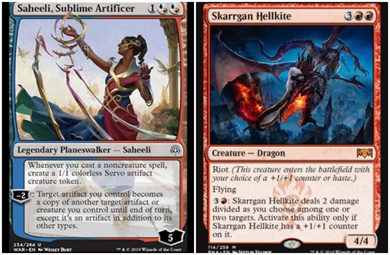 Legendary Planeswalker Saheeli, Sublime Artificer and Skarrgan Hellkite MTG