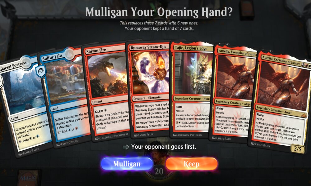 Opening hand and mulligan options in MTG Arena