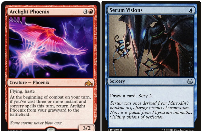 MTG Modern Izzet deck cards Arclight Phoenix and Serum Visions