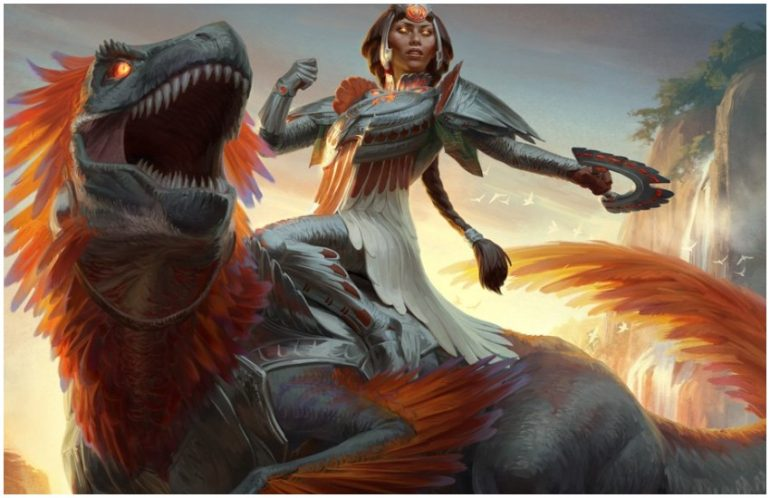 Huatli's Raptor dinosaur spoiler MTG War of the Spark