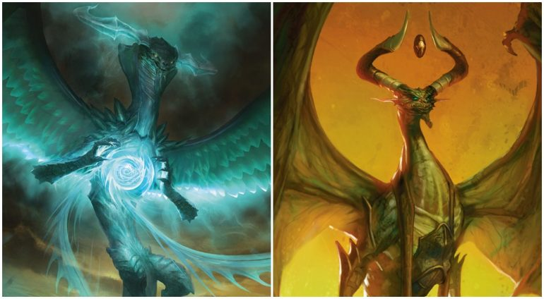 Ugin taking on Bolas in MTG War of the Spark expansion
