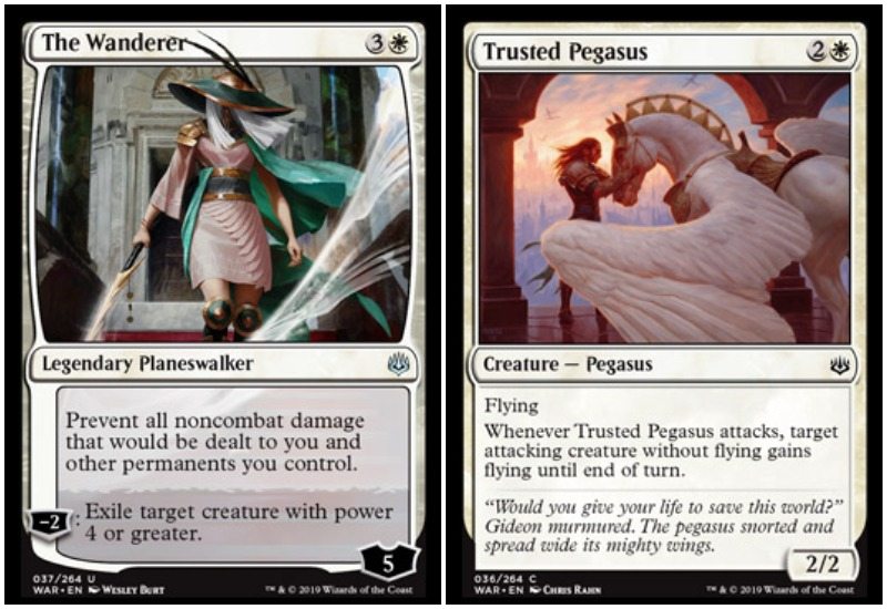The Wanderer and Trusted Pegasus MTG War of the Spark Limited draft