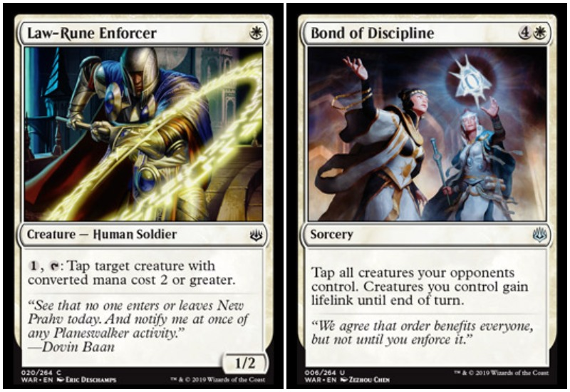 Law-Rune Enforcer andBond of Discipline MTG War of the Spark Limited Draft white
