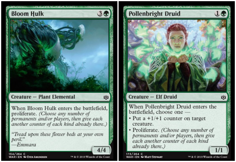 Bloom Hulk and Pollenbright Druid MTG War of the Spark Limited draft