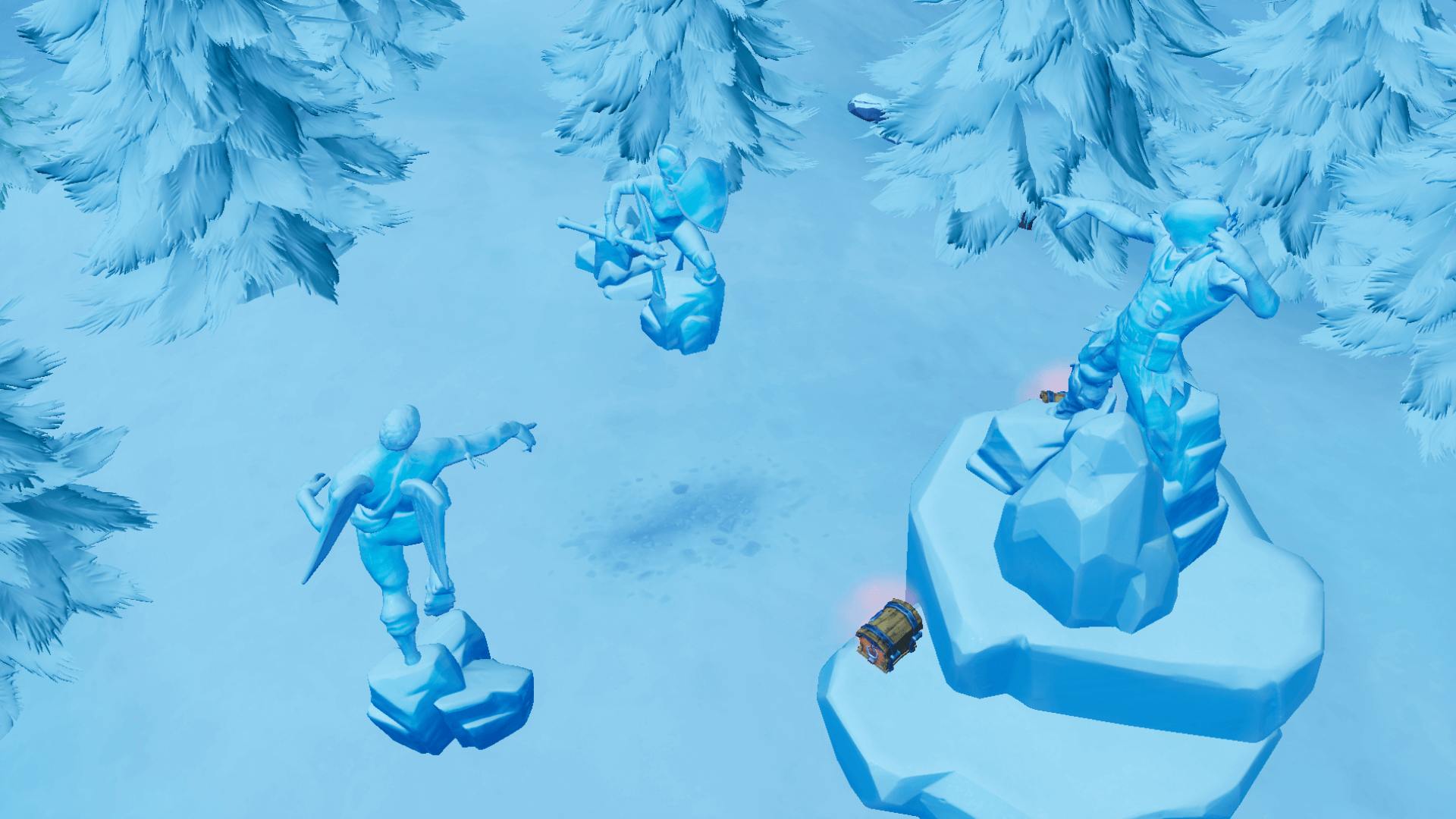 Fortnite: Three Ice Sculptures, Three Dinosaurs, and Four
