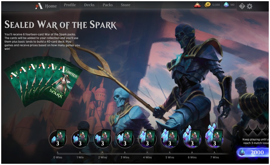 MTG Arena War of the Spark Sealed draft home page
