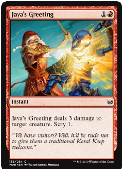Jaya's Greeting MTG War of the Spark common