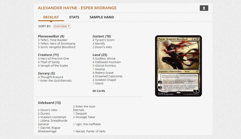 Alexander Hayne MPL Weekly Esper Midrange deck