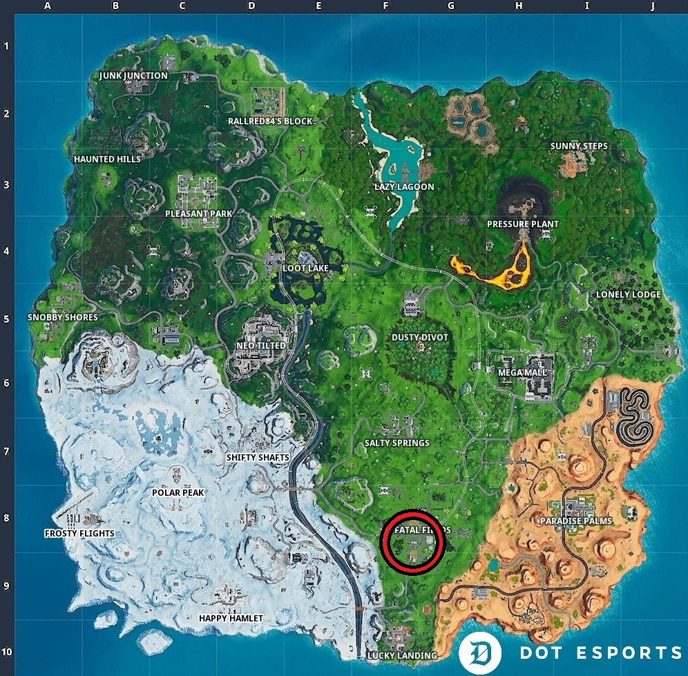 Fortnite: Fortbyte #24 Location Within Fatal Fields (Season 9) | Dot