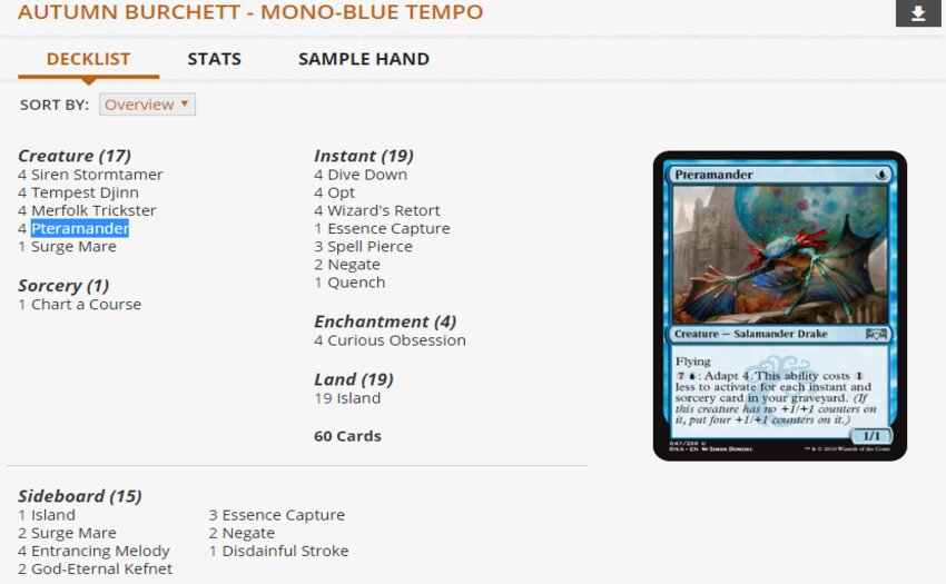 Autumn Burchett Mono Blue Tempo WotS MPL Weekly deck