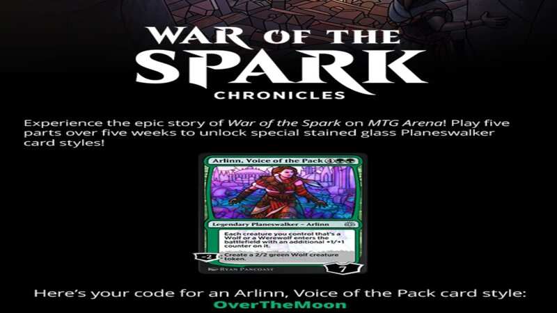 MTG Arena War of the Spark Chronicles promo code Ravnica at War