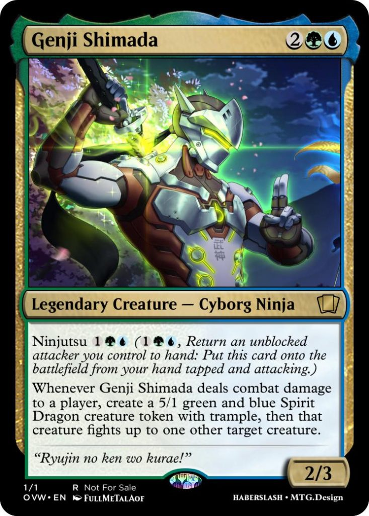 Genji Overwatch and Magic: The Gathering crossover card
