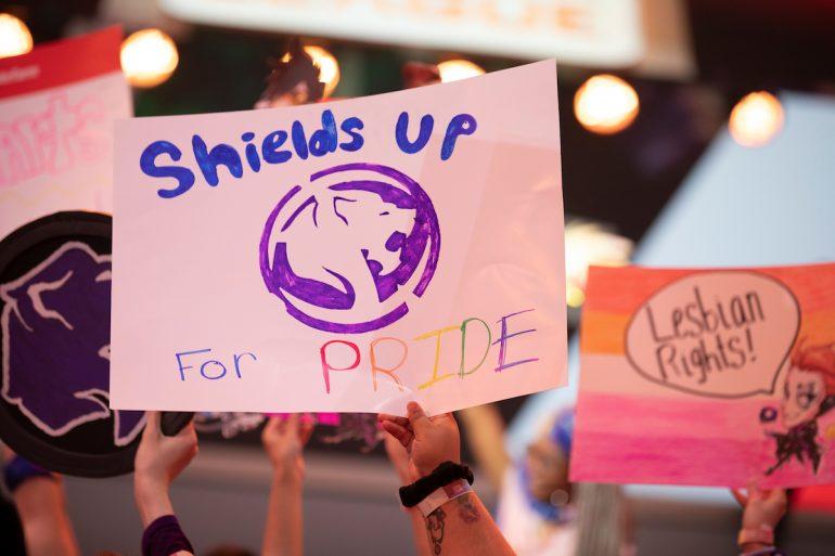 Los Angeles Gladiators pride fan sign
