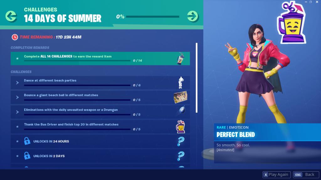 Fortnite 14 Days of Summer Challenges and Rewards List | Dot