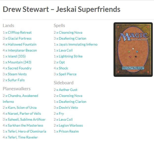 MTG Jeskai Superfriends deck Grand Prix Denver