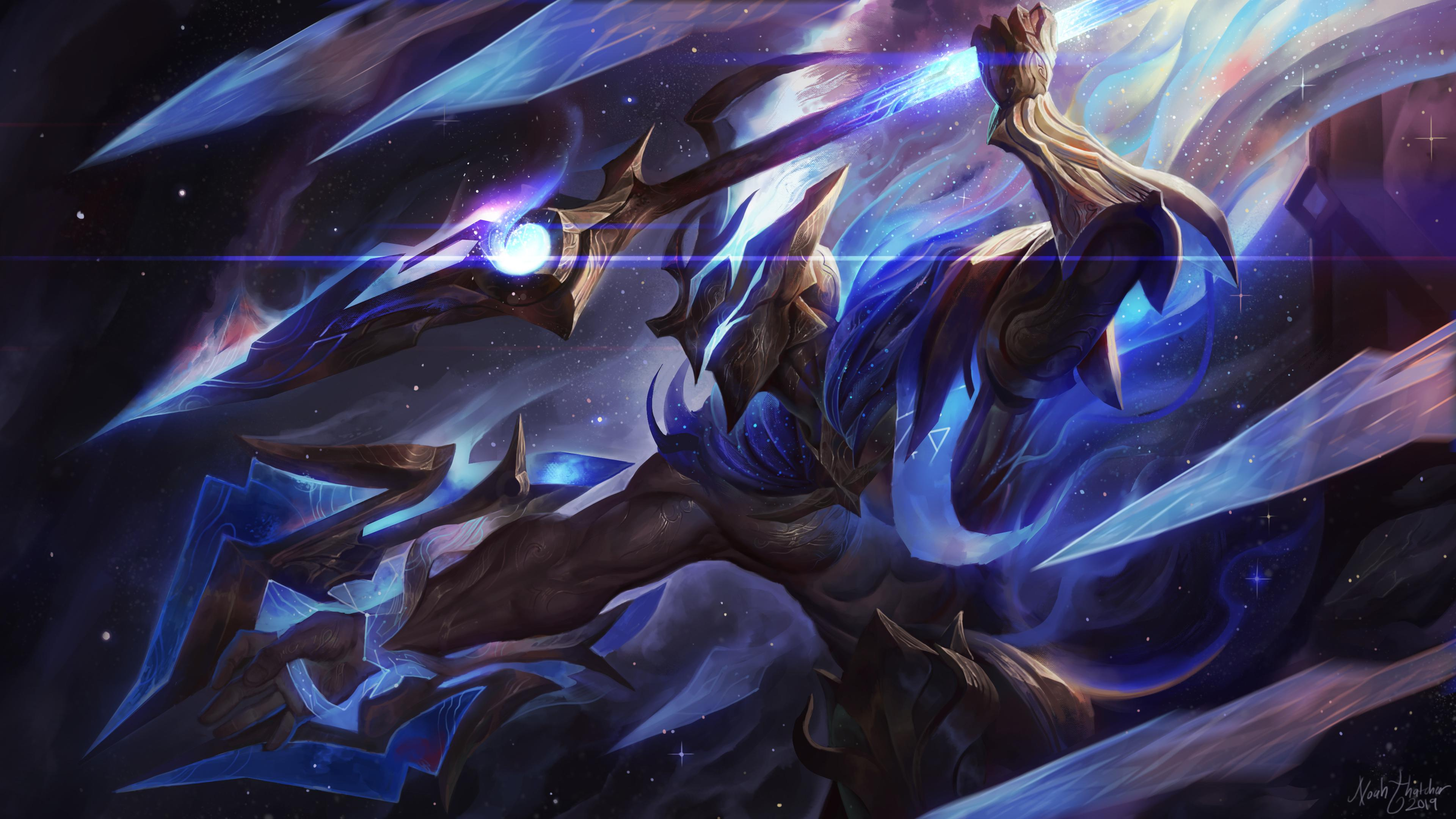 Artist creates amazing Cosmic Emperor Pantheon and Abyssal Star Aatrox skins for a fan-made 2019 ...
