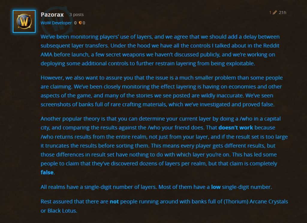 Blizzard calls allegations of layering abuse in WoW Classic