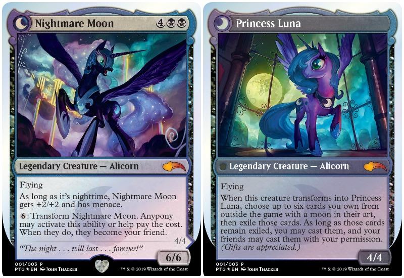 MTG My Little Pony Nightmare Moon and Princess Luna cards