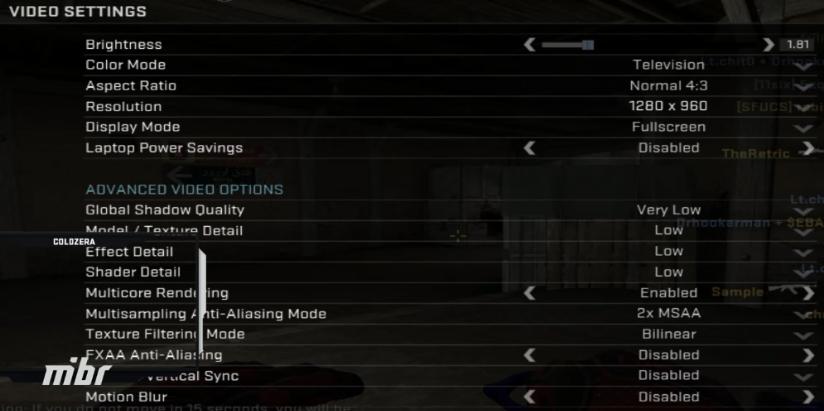 Janela de configurações de vídeo de coldzera no CS:GO