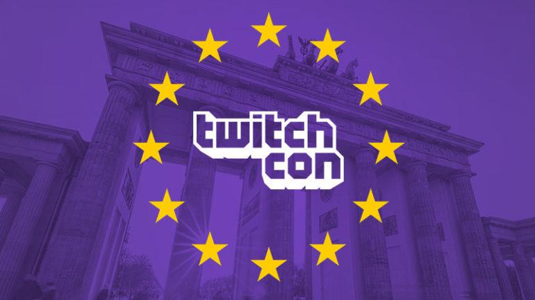 El logo de TwitchCon con la bandera de Europa